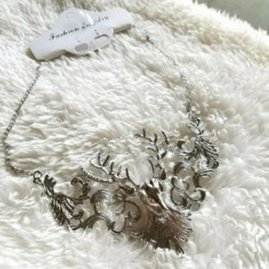 Jewelry - SILVER Deer Antlers Statement Bib Boho Necklace